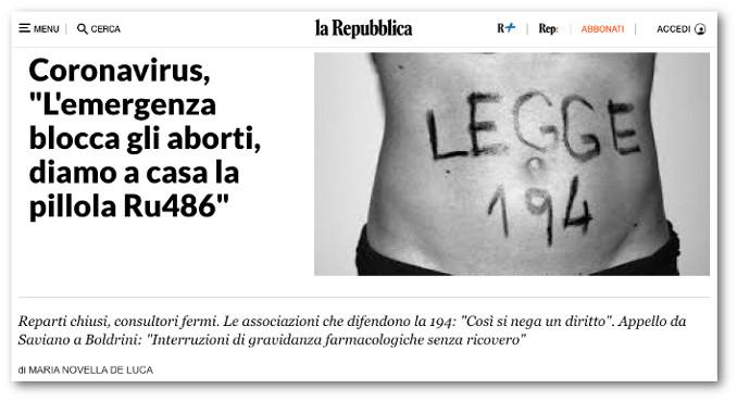 Appello per la pillola abortiva su Repubblica