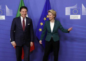 Giuseppe Conte con Ursula von der Leyen