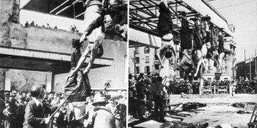 L'impiccagione di Benito Mussolini e Claretta Petacci in piazzale Loreto a Milano, 25 aprile 1945