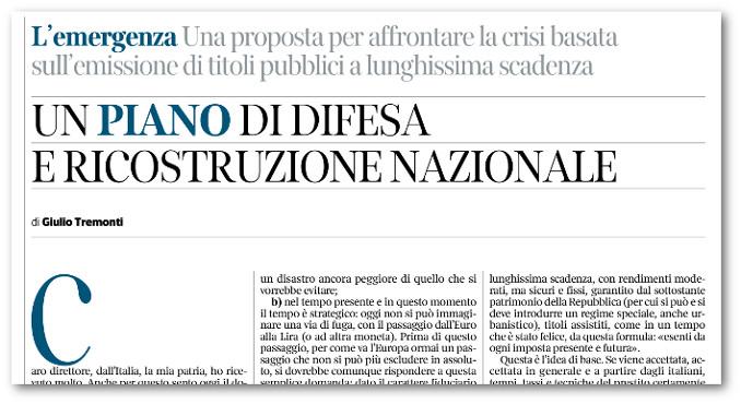 Il piano di Tremonti per la difesa e la ricostruzione nazionale sul Corriere della Sera