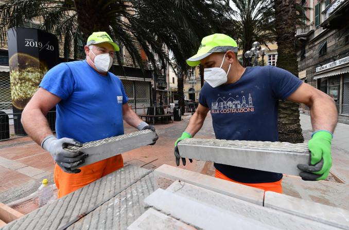 Cantiere riaperto in Liguria nella fase 2 dell'emergenza coronavirus