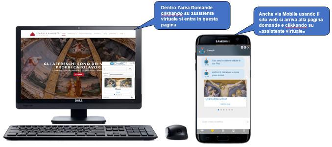 L'assistente virtuale (chatbot) nel sito della Certosa di Garegnano a Milano