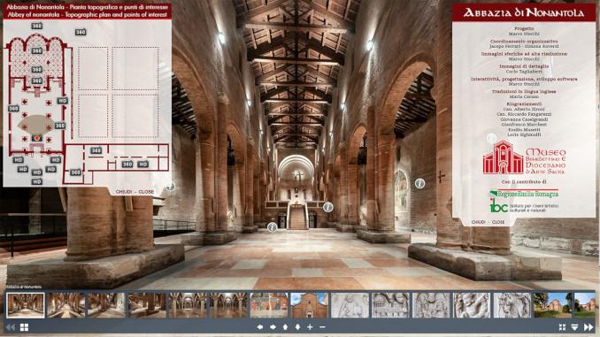 Schermata del tour virtuale nell'Abbazia di Nonantola