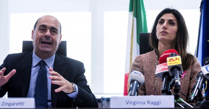 Nicola Zingaretti e Virginia Raggi