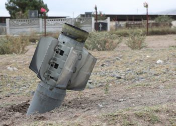 Ordigno residuo di bombardamenti sul Nagorno Karabakh