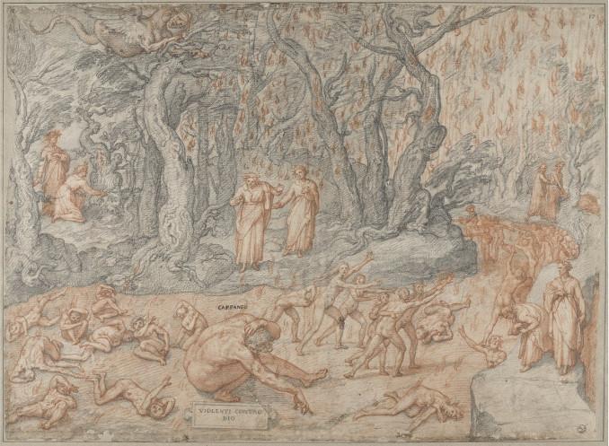 Illustrazione di Federico Zuccari per il Canto XIV dell'Inferno di Dante (girone dei violenti contro Dio con Capaneo)