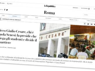 Titolo di Repubblica contro la preside del Liceo Giulio Cesare di Roma, Paola Senesi