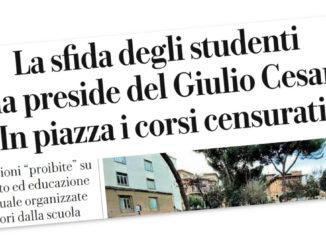 """Titolo di Repubblica sulla """"sfida degli studenti alla preside del liceo Giulio Cesare"""""""