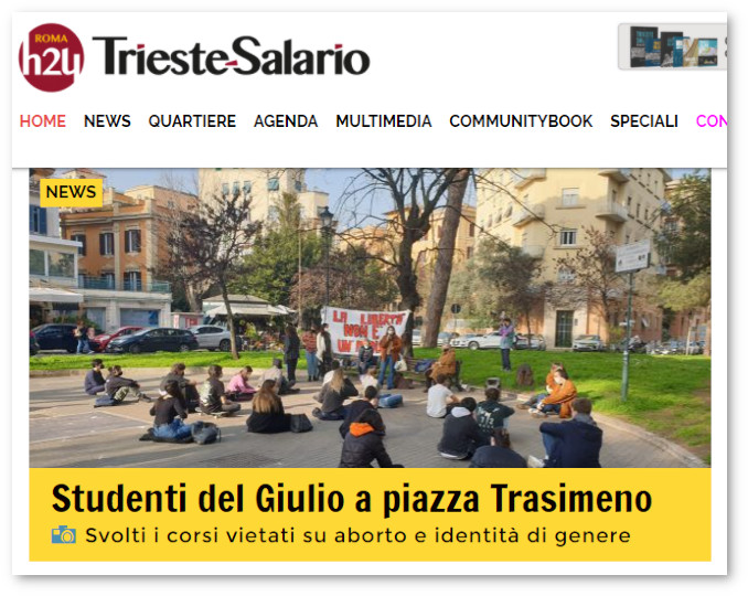 Cronaca di Roma H24 sui corsi gender e aborto organizzati in piazza da studenti del Liceo Giulio Cesare di Roma