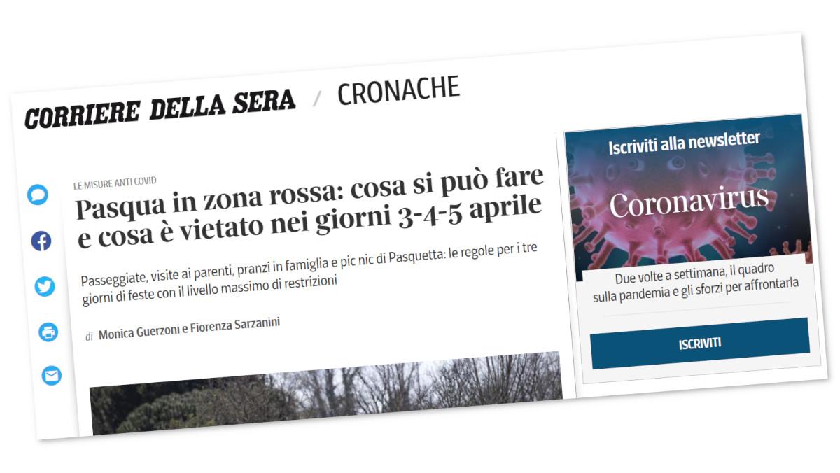 Titolo del sito del Corriere della Sera su cosa si può fare a Pasqua in zona rossa