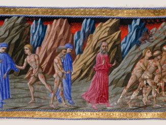 Dante Alighieri e Brunetto Latini in una miniatura medievale