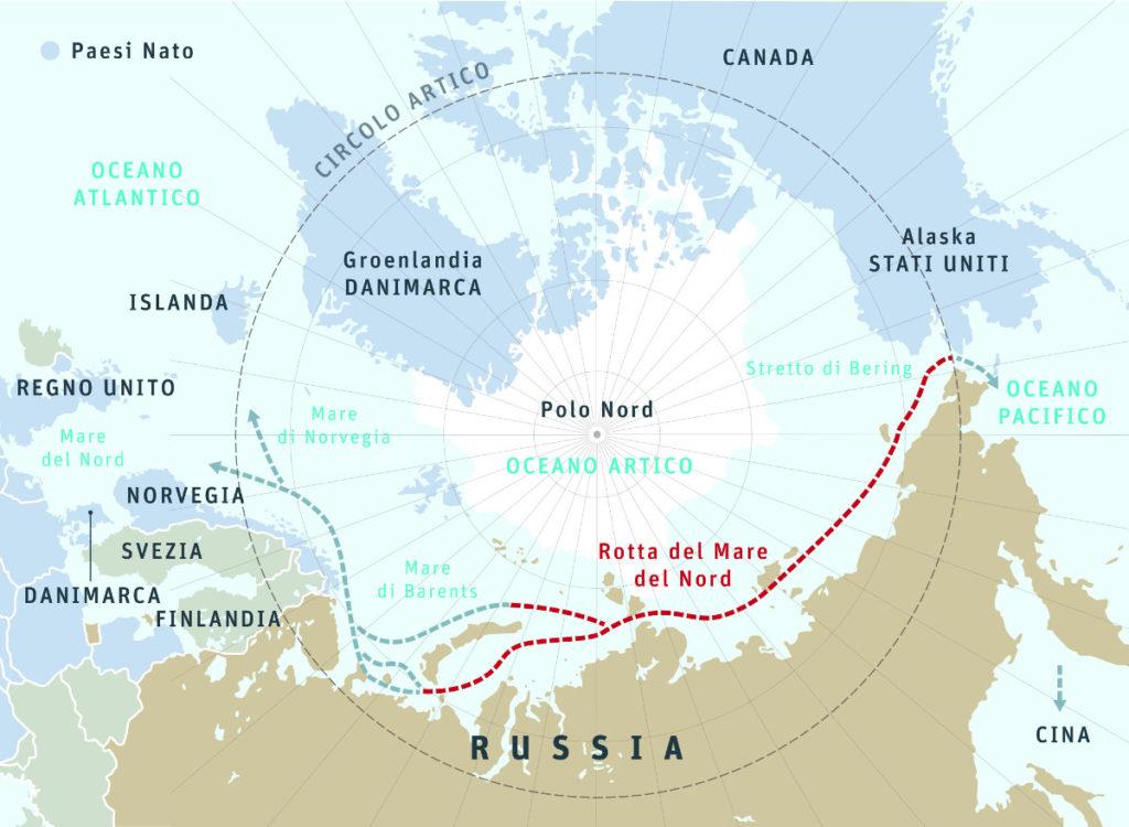 Mappa della rotta del Mare del Nord
