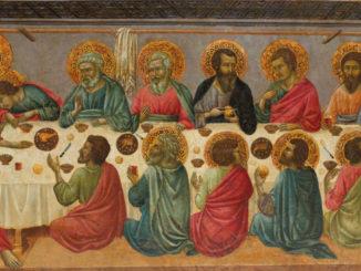 L'ultima cena di Gesù con gli apostoli dipinta da Ugolino da Siena