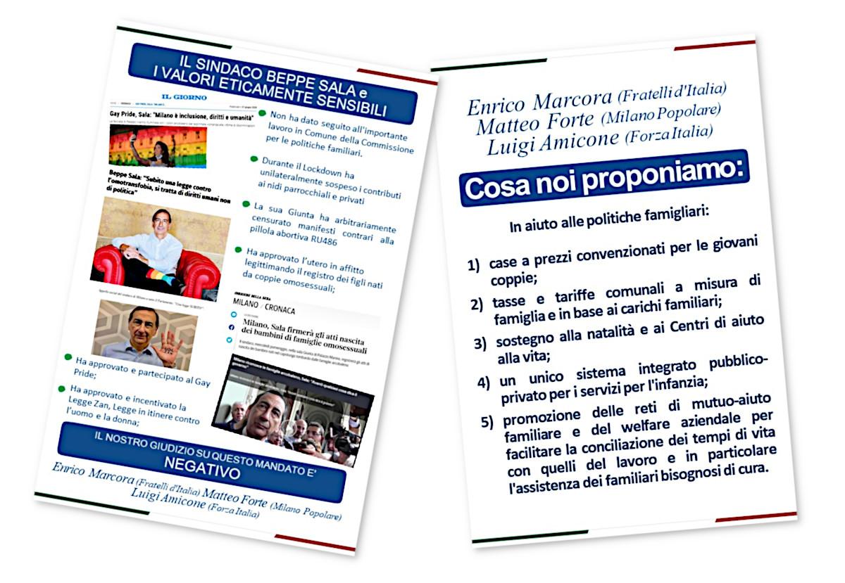 Il volantino di Amicone, Forte e Marcora a favore di politiche pro famiglia in vista delle elezioni 2021 a Milano