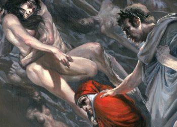 L'incontro fra Dante Alighieri e Paolo e Francesca all'Inferno nella Divina Commedia illustrato da Gabriele Dell'Otto