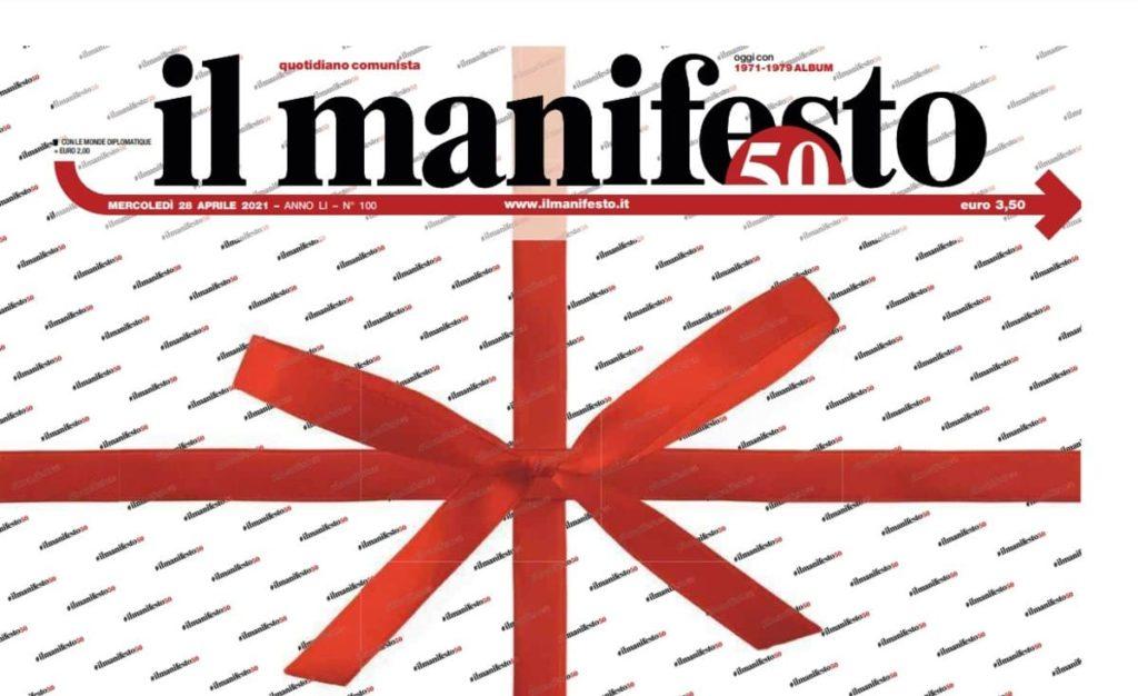 Il manifesto, prima pagina che celebra i 50 anni di vita