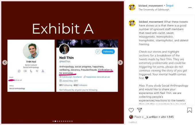 Il profilo Twitter di Neil Thin sul profilo Instagram degli antirazzisti di BlackEd