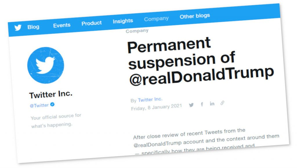 Annuncio della sospensione permanente del profilo di Trump da parte di Twitter