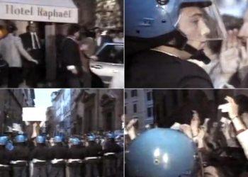 Le immagini del lancio delle monetine contro Bettino Craxi davanti all'Hotel Raphael a Roma