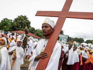 Una processione dei cristiani del Tigrai in Etiopia