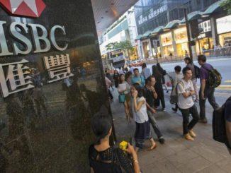 Una filiale della banca Hsbc a Hong Kong
