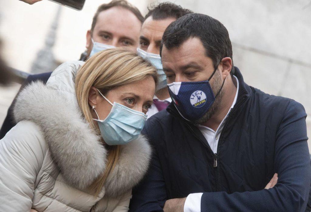 Giorgia Meloni, leader di FdI, con Matteo Salvini, leader della Lega