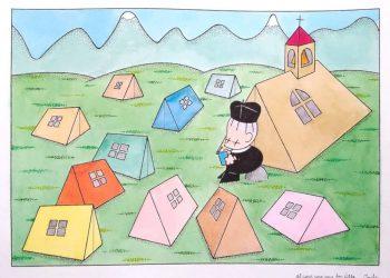 Don Antonio Villa in una vignetta di Guido Clericetti