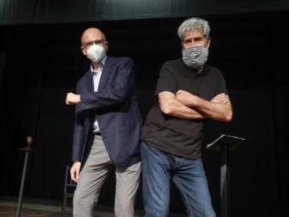 Enrico Letta e l'attore Alessandro Benvenuti al teatro di Tor Bella Monaca durante la campagna elettorale per il Campidoglio di Roberto Gualtieri, Roma, 14 Giugno 2021