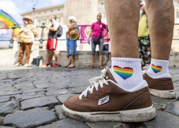 Manifestazione a favore del ddl Zan davanti a Montecitorio