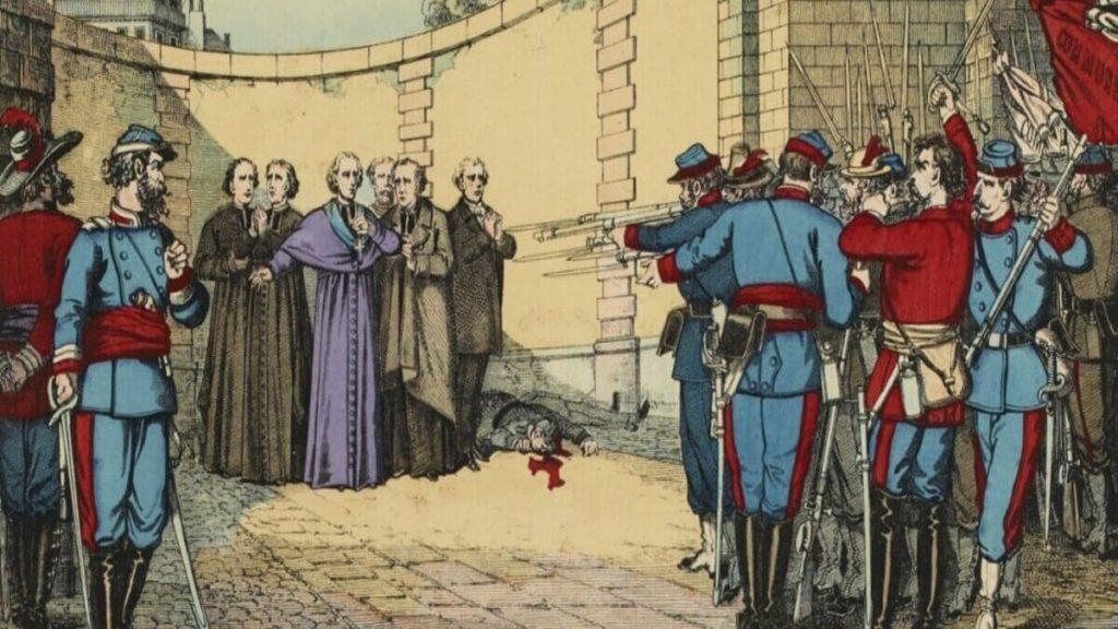 Un quadro raffigura la scena dei martiri della Comune di Parigi