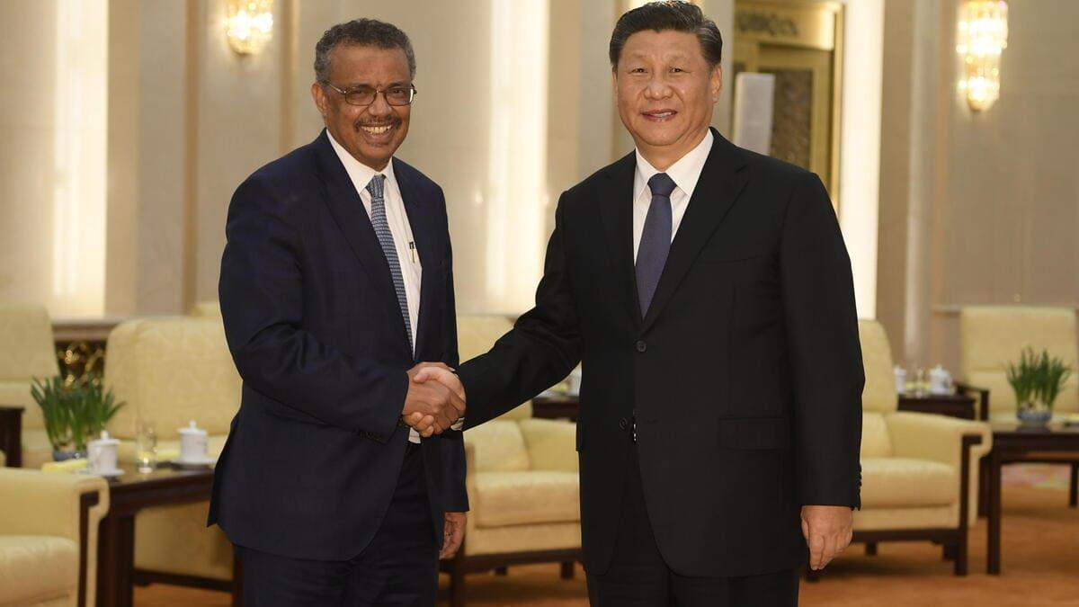 Il direttore generale dell'Oms Tedros Adhanom incontra il presidente cinese Xi Jinping il 20 gennaio 2020