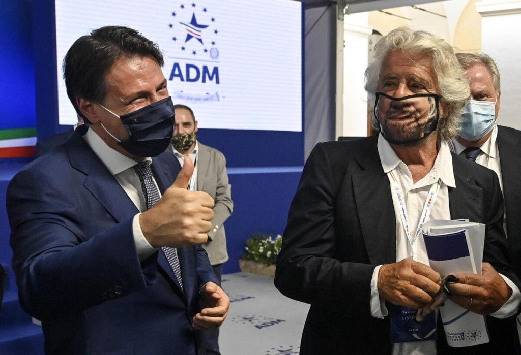Giuseppe Conte e Beppe Grillo del M5s