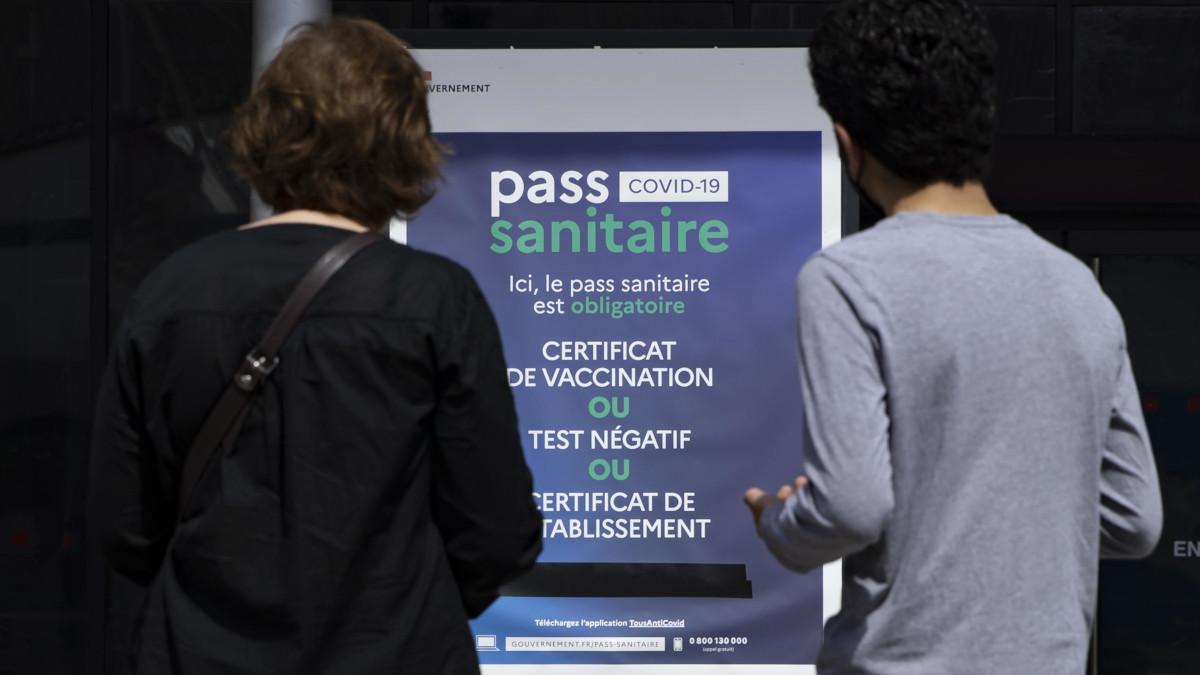 Manifesto su obbligo di green pass in Francia