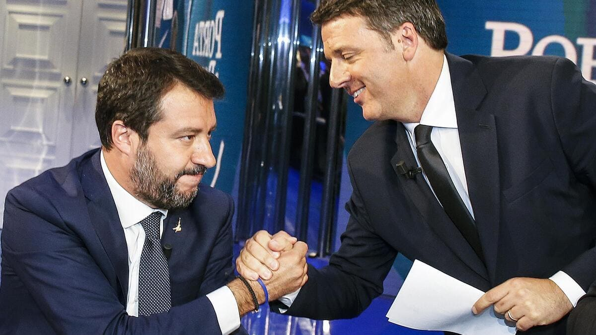 Matteo Salvini e Matteo Renzi, prove di alleanza in vista della corsa al Quirinale (foto Ansa)