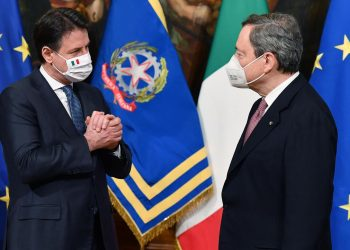 Giuseppe Conte e Mario Draghi, Palazzo Chigi, Roma, 13 febbraio 2021