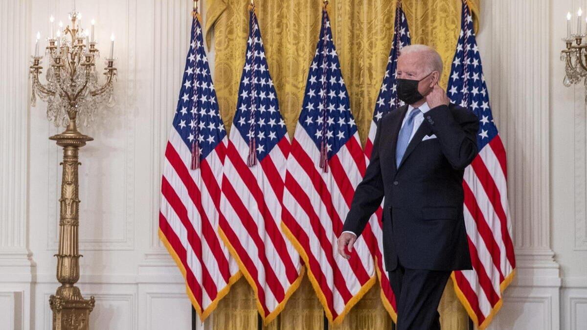 Il presidente americano Joe Biden arriva alla Casa Bianca per fare un discorso sulla situazione in Afghanistan