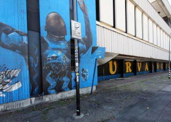 Il murale dedicato al Romelu Lukaku, nelle vicinanze dello stadio Giuseppe Meazza di Milano, imbrattato dai tifosi dell'Inter che contestano al giocatore e alla società la decisione di lasciare il club nerazzurro. Milano 9 Agosto 2021