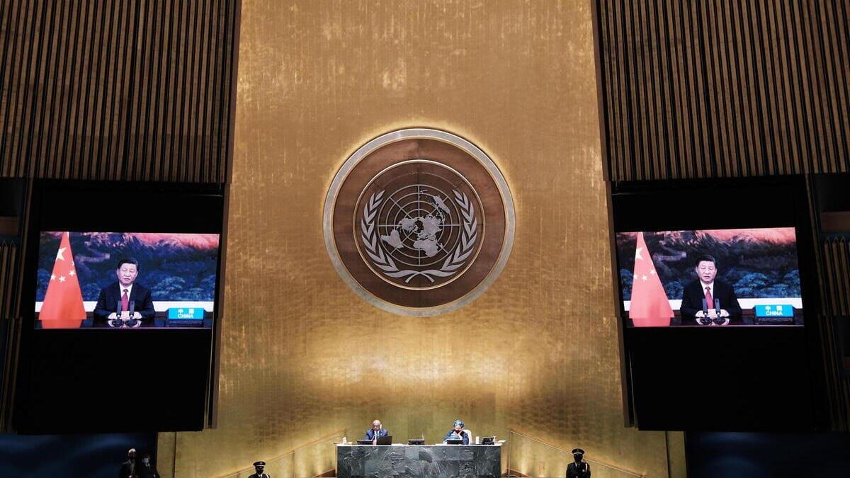 Xi Jinping, presidente della Cina, parla alla assemblea dell'Onu