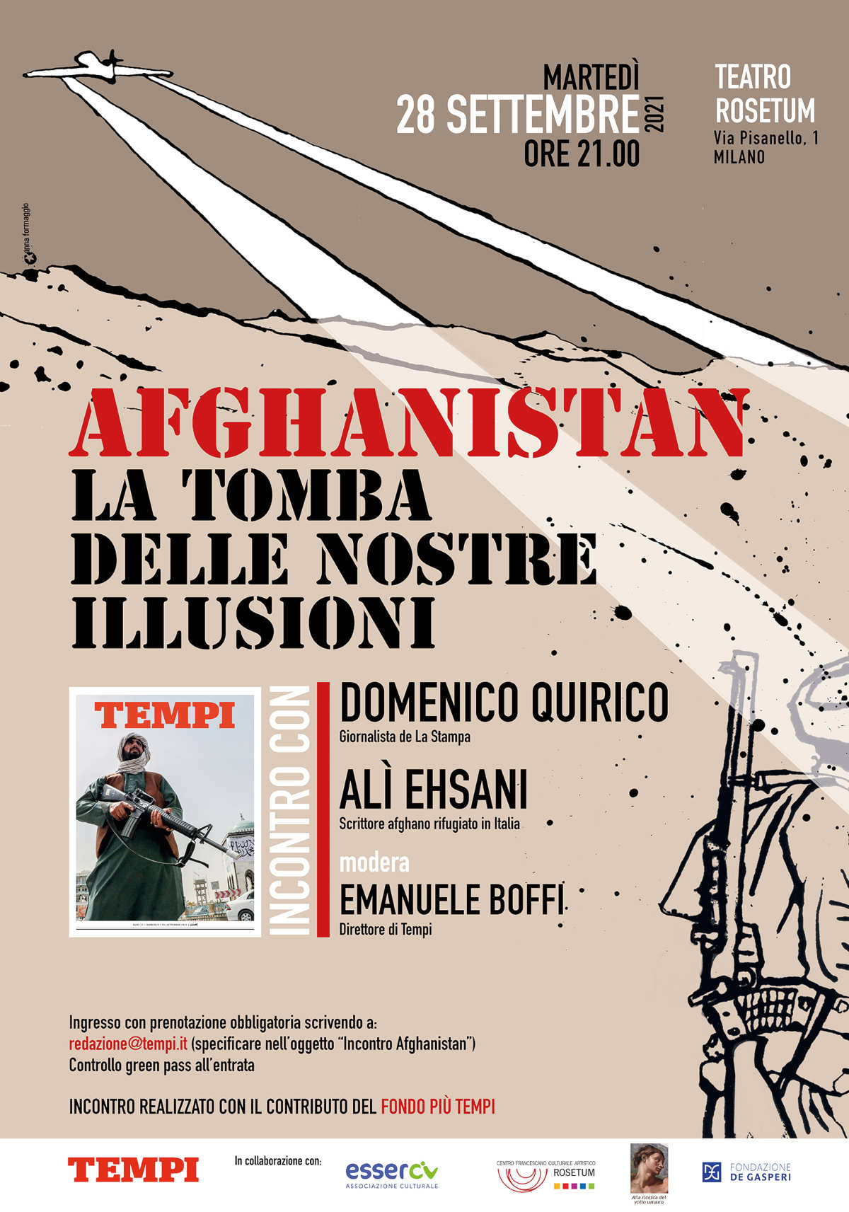 La locandina dell'incontro di Tempi sull'Afghanistan con Domenico Quirico e Alì Ehsani