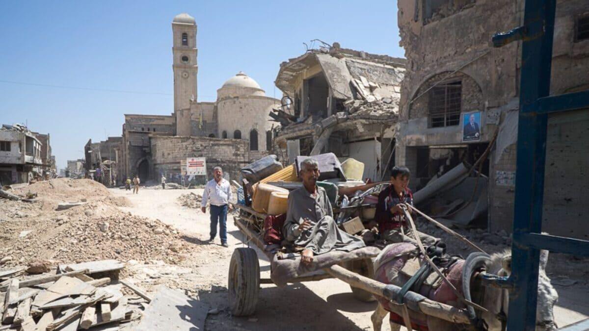 La chiesa Nostra Signora dell'Ora danneggiata a Mosul, in Iraq