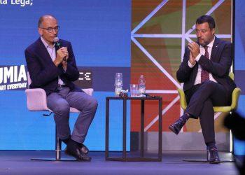 Il segretario del PD Enrico Letta ed il Leader della Lega Matteo Salvini durante il Meeting di Rimini, Rimini, 24 Agosto 2021