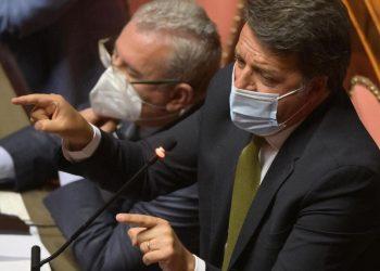 Il leader di Italia Viva, Matteo Renzi, in Senato