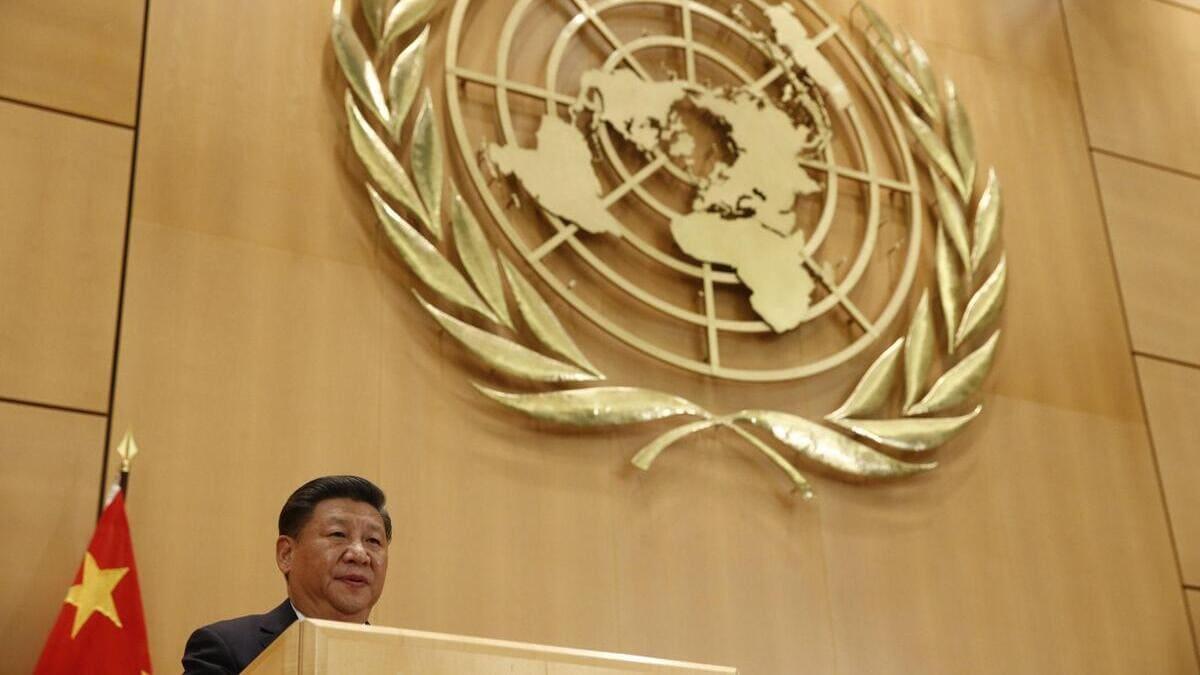 Xi Jinping, presidente della Cina, parla all'Onu a Ginevra nel 2017