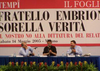 """Giancarlo Cesana, Luigi Amicone e Giuliano Ferrara all'incontro """"Fratello embrione, sorella verità"""" a Milano, il 14 maggio 2005"""
