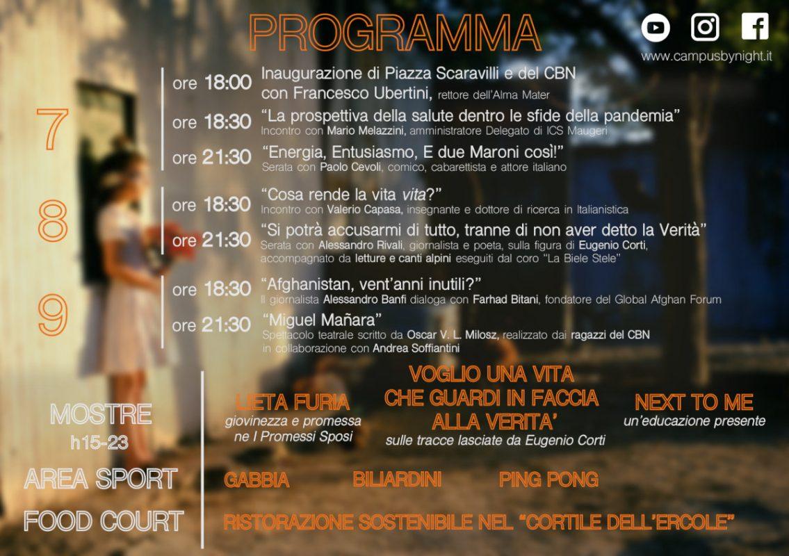 Locandina e programma del Campus by Night 2021 a Bologna