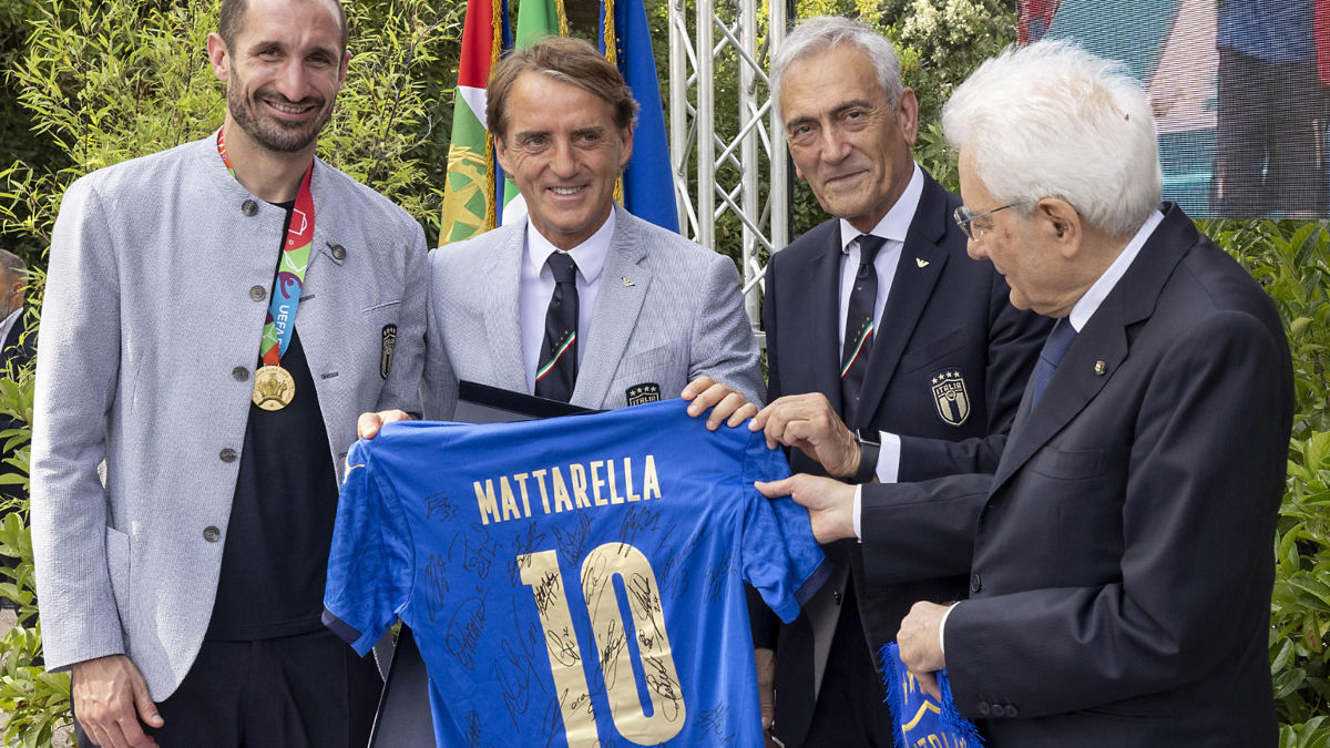 Giorgio Chiellini, Roberto Mancini, Gabriele Gravina, Sergio Mattarella