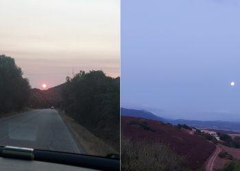 Sole all'alba e tramonto della luna in Sardegna